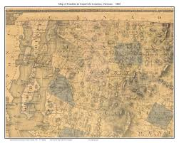 Franklin Maps Vermont County Prints From The 1860 Walling State Map