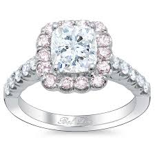 Pink Diamond Wedding Rings by Cushion Engagement Ring With Pink Diamond Halo