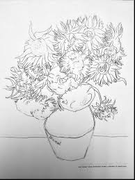 astounding sunflower coloring page with van gogh coloring pages