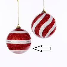 peppermint twist red and white glitter stripe shatterproof