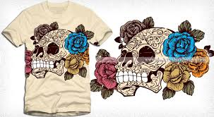 sugar skull with roses t shirt design vector vector t shirt designs