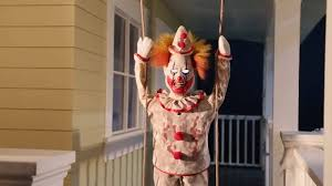 swinging happy clown doll animated prop haunted house halloween