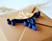 luxury gift wrap brown navy blue jewelry gift box with quilling ornament luxury