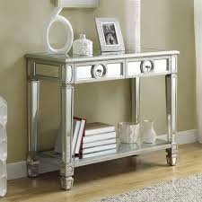 glass mirrored console table furniture entry narrow mirrored console table with storage and shelf