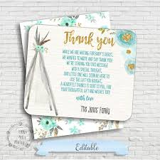 baby shower thank you cards tribal baby shower thank you card boho baby shower thank you