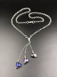 purple heart necklace images Handmade layered three tier purple heart rolo chain necklace jpg