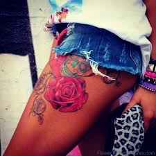 68 phenomenal rose tattoos on thigh
