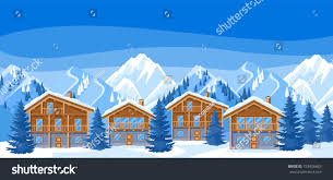 alpine chalet houses winter resort illustration stock vector