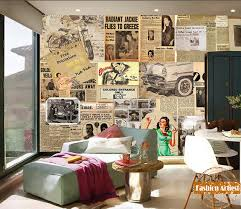 living room cafe custom vintage european old times wallpaper mural newspaper magazine