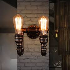 industrial style pipe light hanging exposed bulb wall light rust