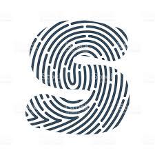 s letter line icon vector fingerprint design stock vector art
