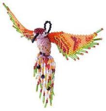 blue and orange articulated cloisonne hummingbird ornament