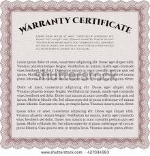warranty certificate template easy print detailed stock vector