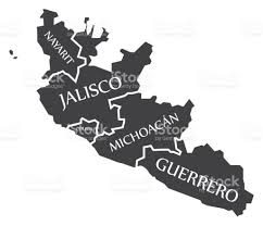 Colima Mexico Map by Nayarit Jalisco Colima Michoacan Guerrero Map Mexico Illustration