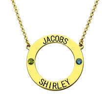 Necklace With Name And Birthstone Aliexpress Com Buy Personalized Karma Necklace Circle Name
