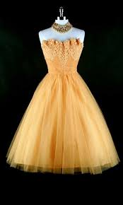 1950 u0027s cocktail dress marigold yellow till with lace trim