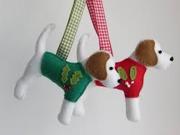 beagle sewn felt jumper tree ornament