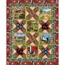 blank quilting fabrics farmstead panel quilt kit 49 by 61