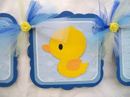 Rubber Ducky Baby Shower Centerpieces by Rubber Ducky Baby Shower Banner Its A Boy In Shades Of Blue