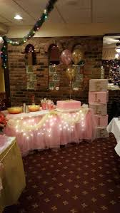 pink and gold themed table for baby shower baby shower