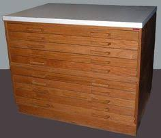 flat file cabinet wood antique vintage wood brass printers letterpress map flat file