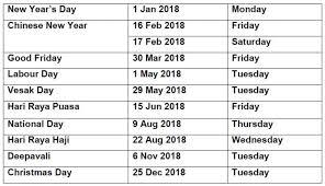 Kalender 2018 Hari Raya Puasa Holidays 2018 Singapore Printable Calendar Monthly