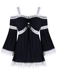 black lace trim 2018 bell sleeve lace trim open shoulder blouse black xl in