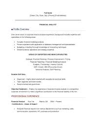 sle resume financial analyst entry level financial analyst