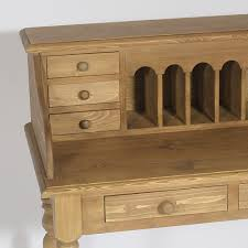 bureau pin secrétaire bois ciré miel 8 tiroirs made in meubles