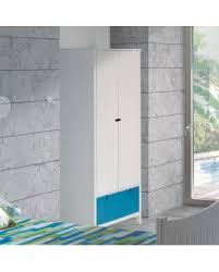 armoire chambre enfant armoire enfant laque blanc 2 portes tiroir façade réversible