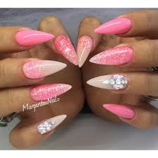 pink stiletto nails summer nail art glitter ombré