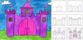 art projects for kids how to draw a castle includes step by step
