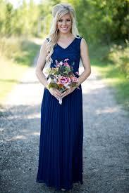 elegant blue v necklace bridesmaid dresses cheap chiffon 2017