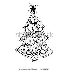 vintage poster christmas tree hand lettering stock vector