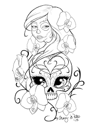 sugar skull design drawing get coloring pages