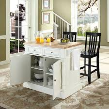 crosley butcher block top kitchen island with black barstools
