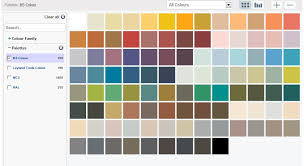 paint colours available to tint paint chart