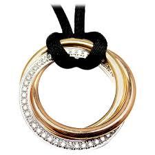 colour gold necklace images Cartier trinity diamond medium silk cord multi color gold pendant jpg