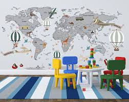 world map with country names contemporary wall decal sticker world map decal etsy