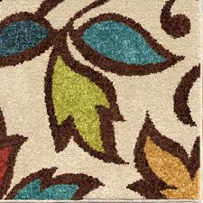 Brown And Turquoise Area Rugs Orian Rugs Indoor Outdoor Dicarna Cream Leaves Area Rug Walmart Com