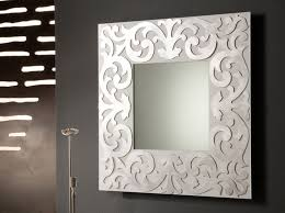home interiors mirrors square mirror with carving silver steel frame placed on the black