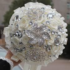 Popular Bridal Bouquet Flowers - aliexpress com buy wifelai a 1piece handmade ivory cream diamond