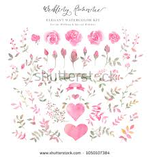 wedding wishes clipart handpainted watercolor arrangements flowers rosebuds stock