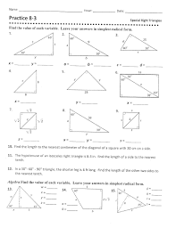 geometry special right triangles worksheet answers 28 templates