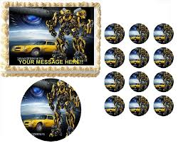 bumble bee cake toppers transformers bumblebee characters edible cake topper frosting
