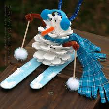 pinecone snowman crafts by amanda