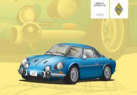 renault alpine classic renault alpine a110s gt high detailed illustration on pantone