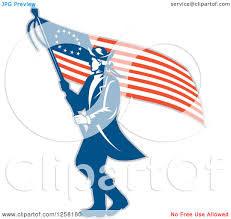 Betsy Ross Flags Clipart Of A Retro Revolutionary Soldier Walking With An American
