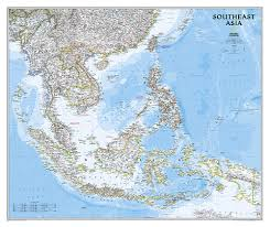 Physical Map Of Southeast Asia by Craenen National Geographic Flat Maps