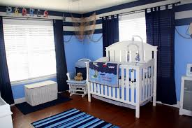 nautical blue accents interior design idea in baby nursery room